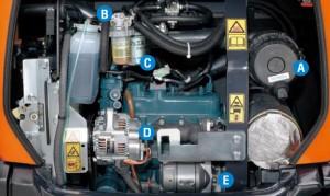 Bagger-Motor-Wartung